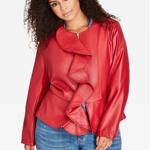 0f2265937a6ff Ashley Stewart Jackets   Blazers - Ruffle Front Faux Leather Jacket